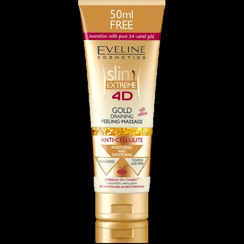 EVELINE Slim Extreme 4D GOLD koffein tartalmú méregtelenítő anticellulit peeling-masszázs krém 250 ml