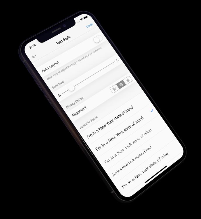 Text customization options