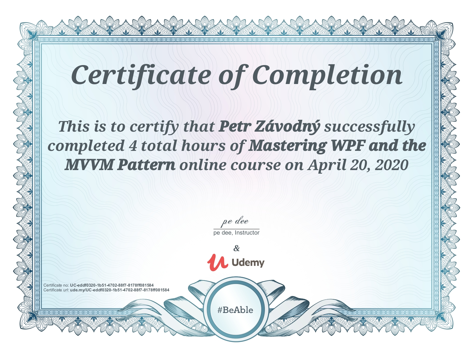 certificate Mastering WPF and the MVVM Pattern