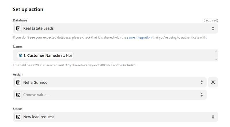 Customize the database item for Notion