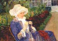 'Lydia Crocheting in the garden at Marly' by Mary Cassatt. A clear example of the Impressionist influence in Cassatt's work