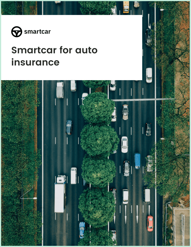 Front-page of Smartcar's auto insurance white paper showing cars on a highway from a bird's eye view