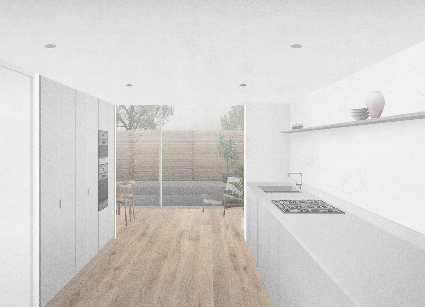 Interior view of the light grey kitchen looking out towards the new rear extension within From Works refurbishment and extension in Blackheath, London.