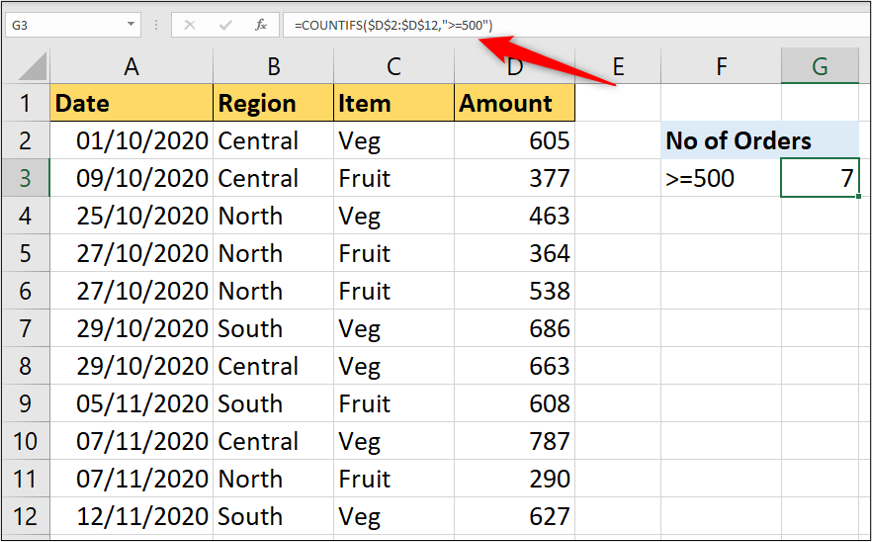 An Excel worksheet containing data on various food items, what region they come from, and how many of each item there are. In this example, the COUNTIFS function is used with a numerical value as its criteria.