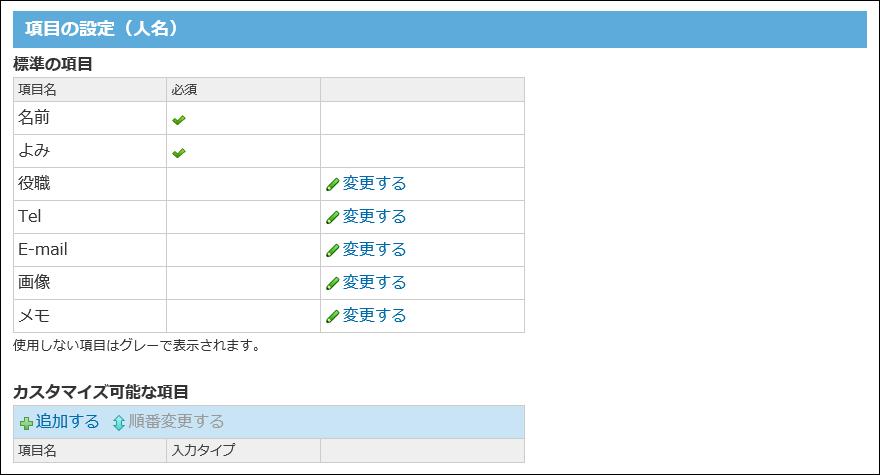 人名の項目の設定画面の画像