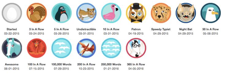 750words badges