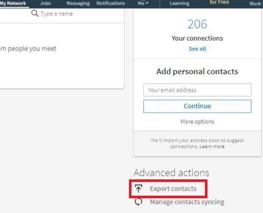 LinkedIn Export Contact
