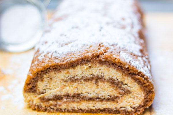 Gluten-free walnut roll cake