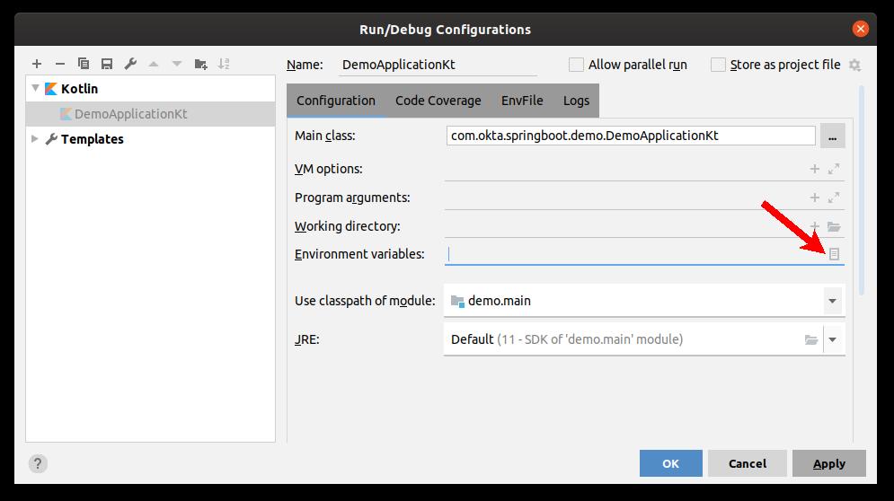 IntellJ IDEA Run Configurations Dialogue