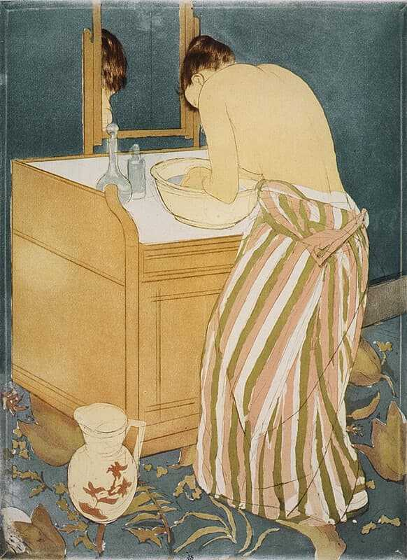 Woman Bathing (La Toilette) by Mary Cassatt, 1890-1, is a drypoint and aquatint print. A technique she developed in her later career.