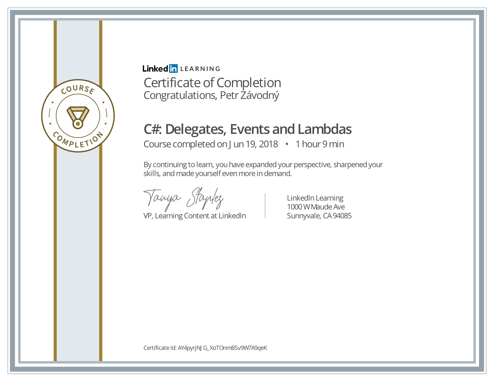 certificate C# Delegates, Events and Lambdas