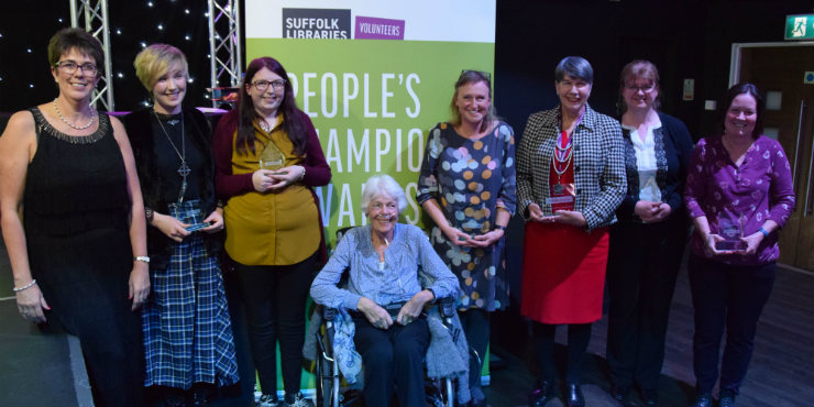 Volunteer Engagement Manager Diane Moore with award winners Emma Fakes, Chloe Peck, Monica Ford, Charlotte Evans, Liz Ditton, Maggie Lusher (receiving the award on behalf of Gemma Southwood) and Mandy Grimwood