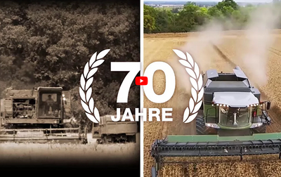 Two-part image - the left half shows an old image of a combine while the right half shows a modern model; above is a laurel wreath with the content 70 years