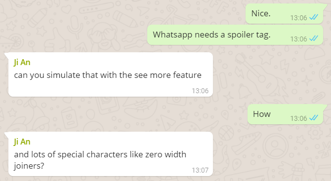 Discussion about spoiler tags in WhatsApp