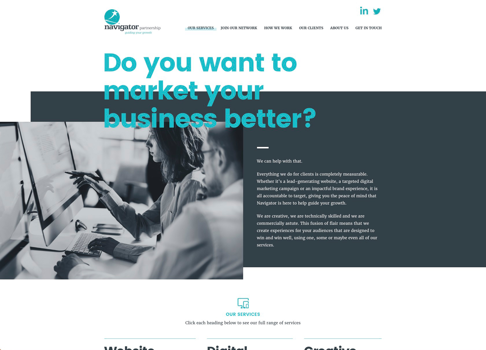 The Navigator Partnership services page showing business imagery and services offered
