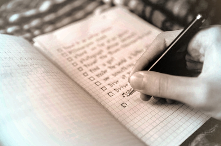 handwritten checklist pictured