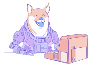 Illustration of a doge using a computer.