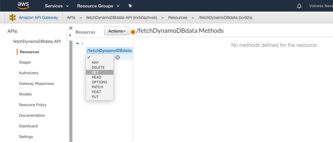 Adding GET method to API Gateway