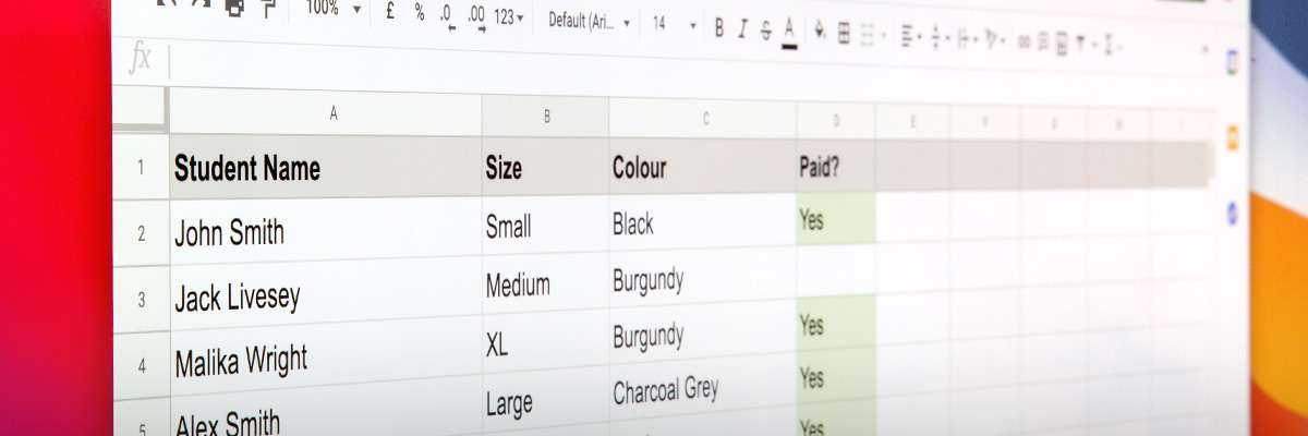 A computer screen showing a spreadsheet of hoodie orders