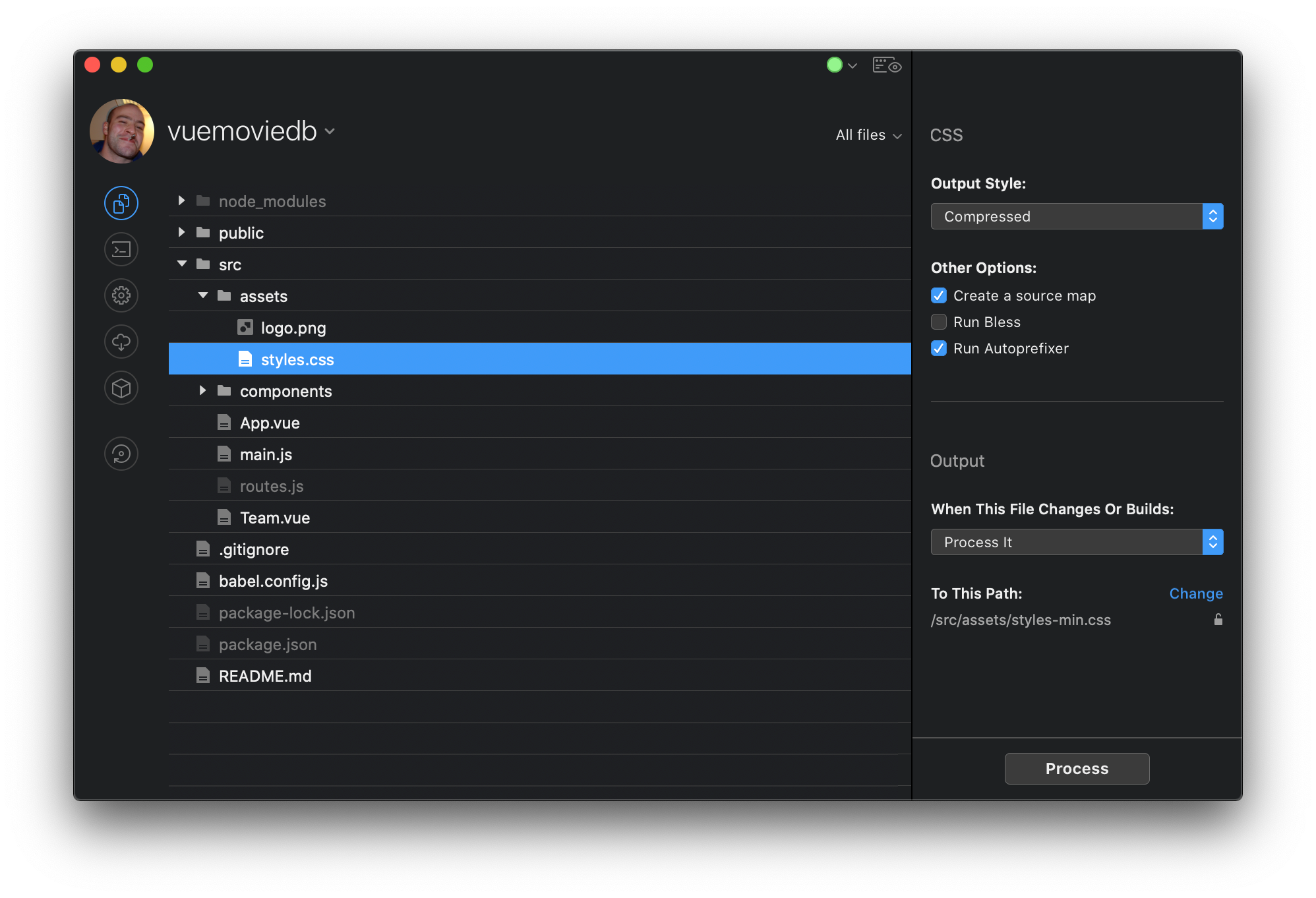 CodeKit (on a Vue project, and in dark mode)