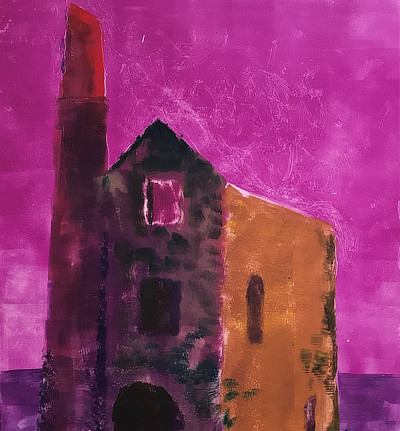 monoprint of derelict church building against bright purple sky