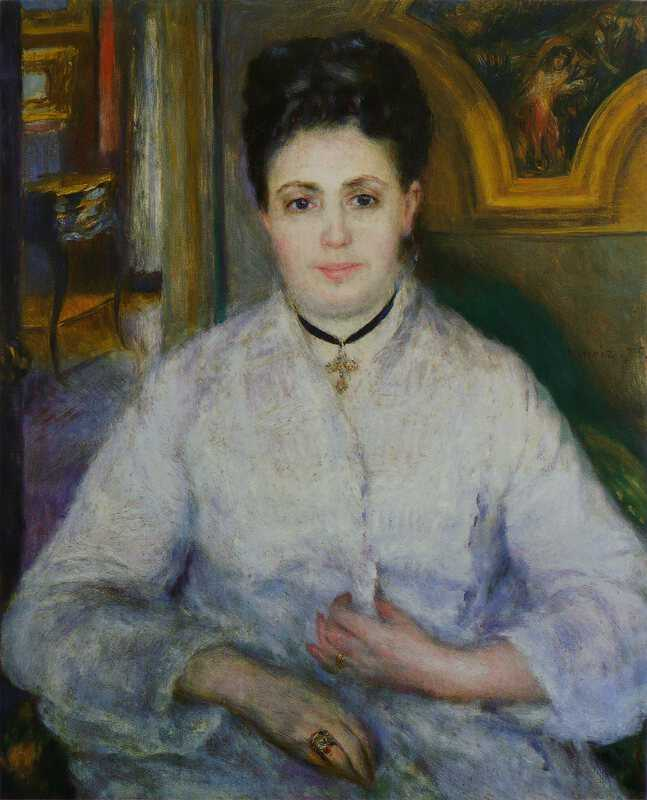 Madame Victor Chocquet by Pierre-Auguste Renoir in 1875, currently at Staatsgalerie Stuttgart