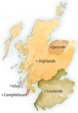 Map of Scotland Whisky Regions