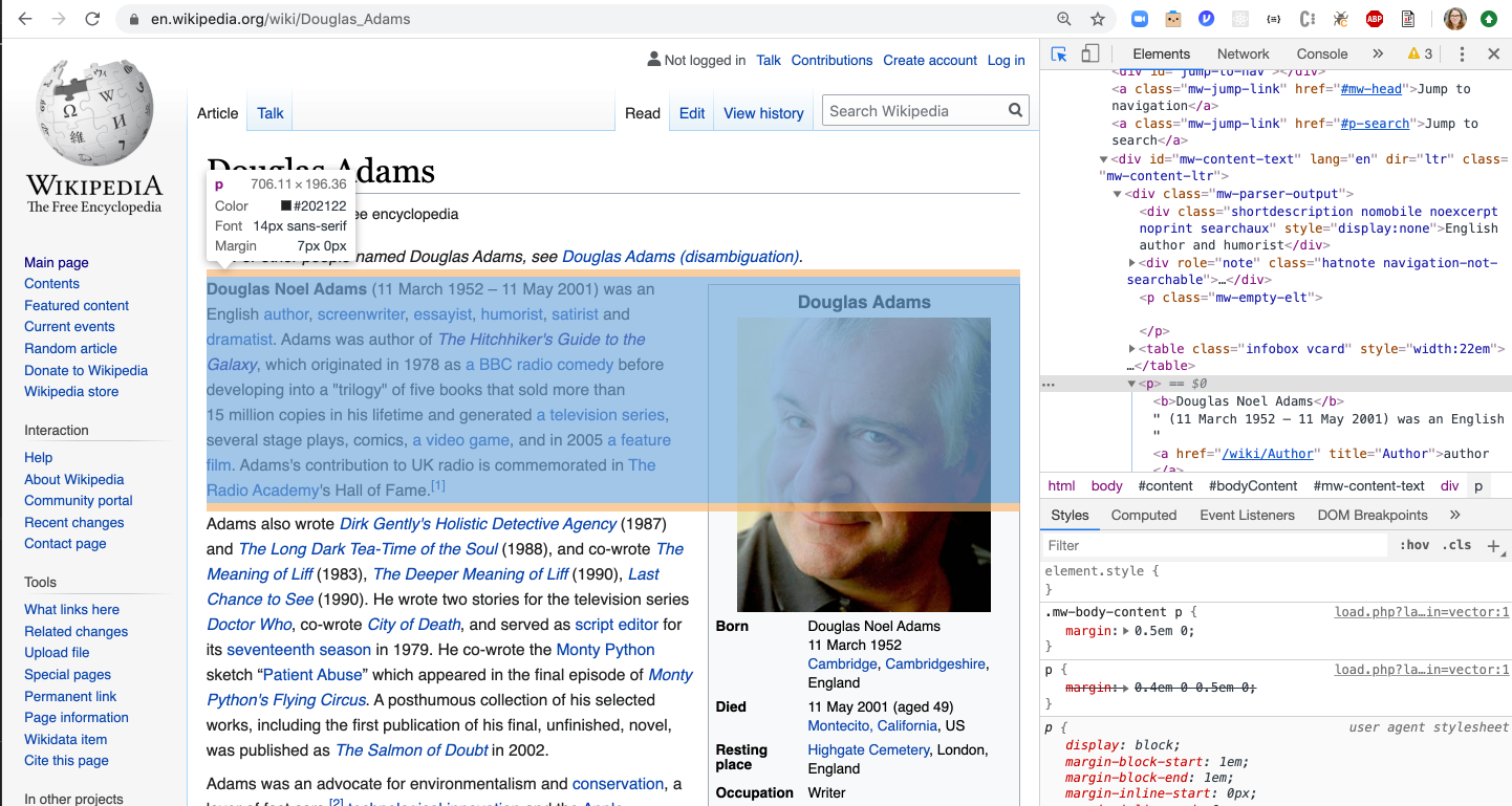 Screenshot of using Google DevTools