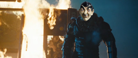 A terrible photoshop that Jay created, superimposing a rubber mark of Mr. Bean over the face of Nemesis