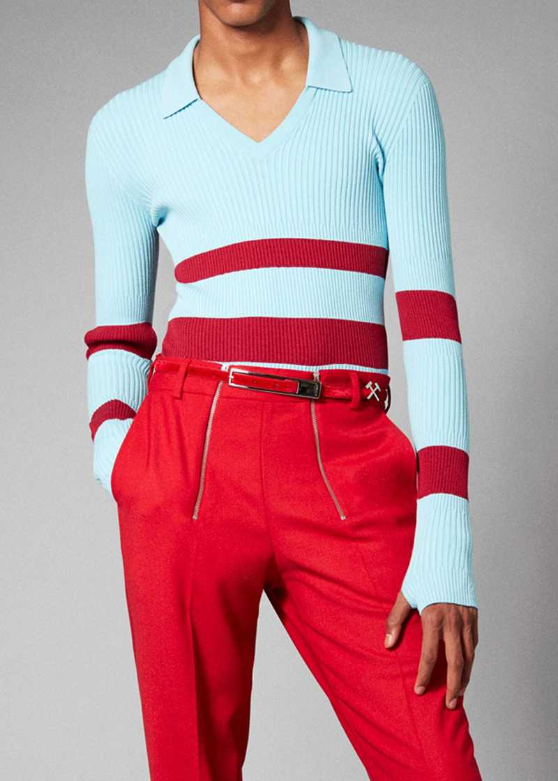RAN top in blue/red. GmbH Spring/Summer 2021 'RITUALS OF RESISTANCE'