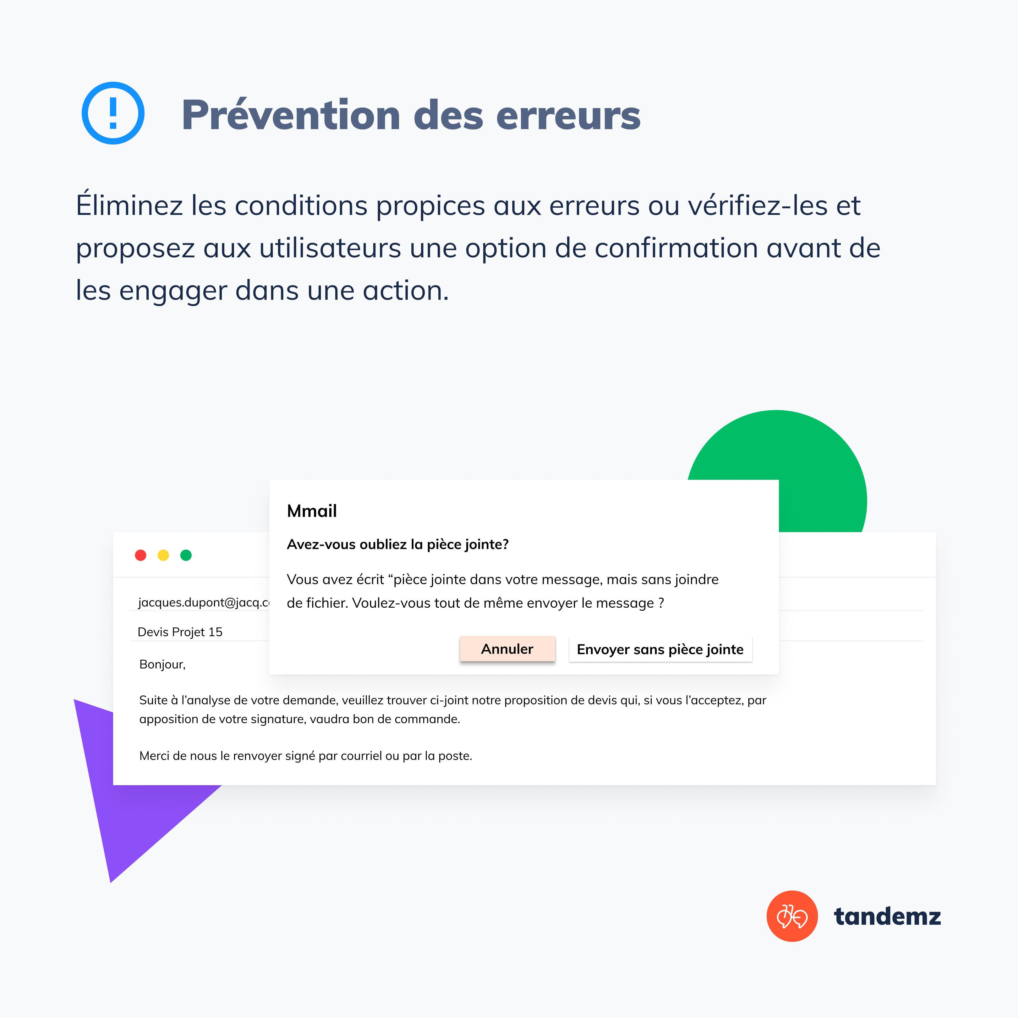 Proposer aux utilisateurs une option de confirmation avant de les engager dans une action