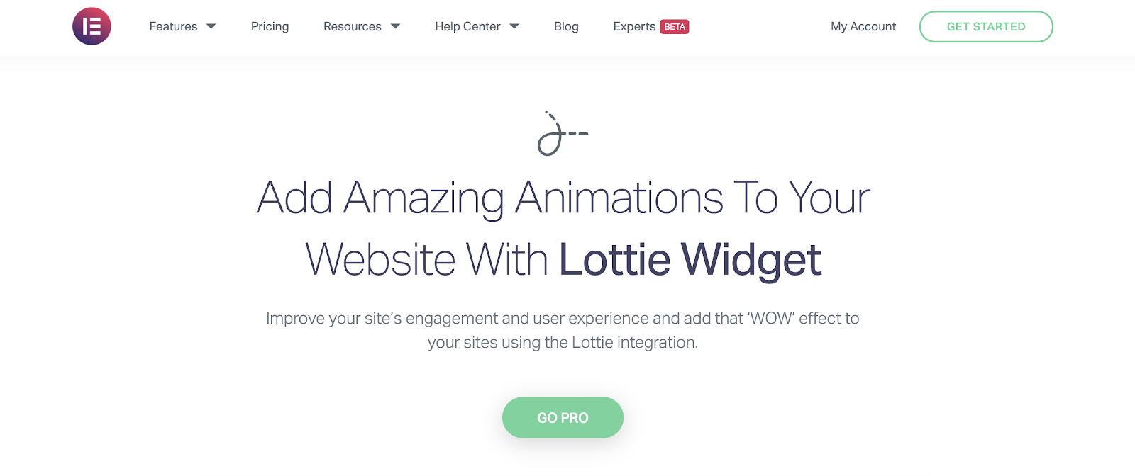 Elementor product page for the Lottie Widget