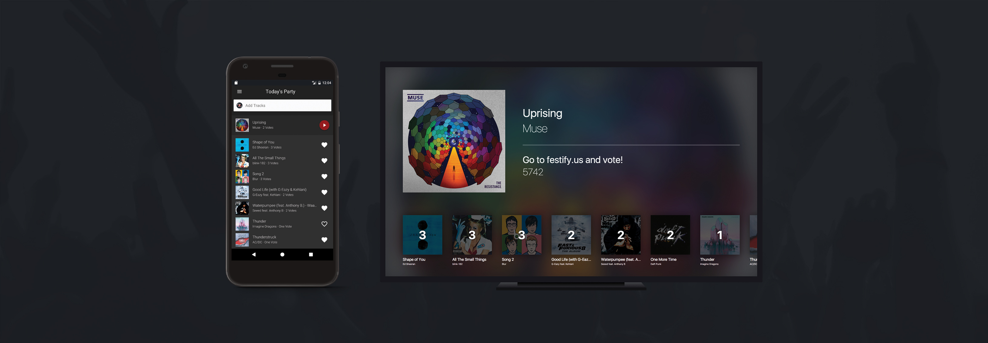 Phone and TV running Festify in Fullscreen Mode