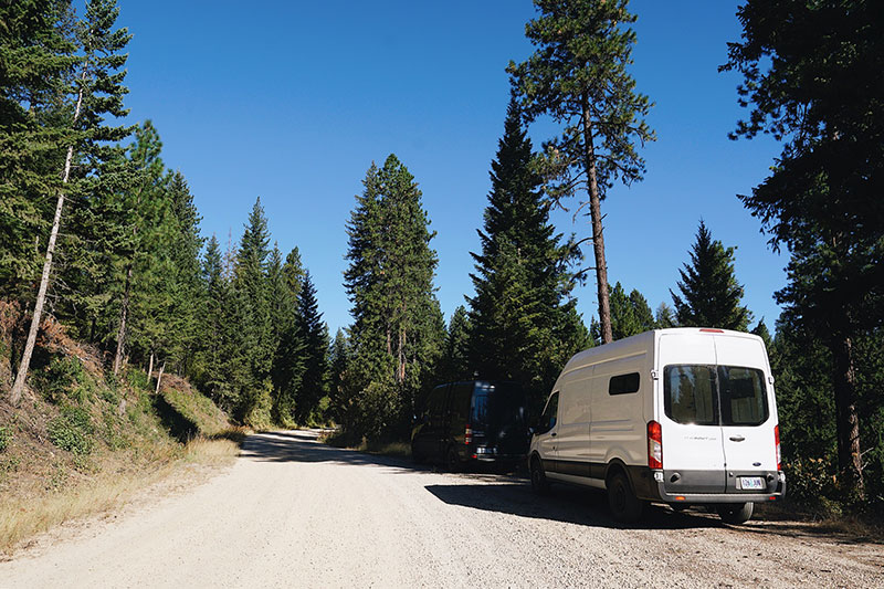 Primitive parking for your van in National Forest