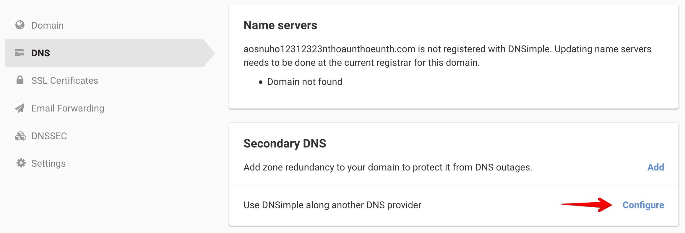 Change you Secondary DNS configuration