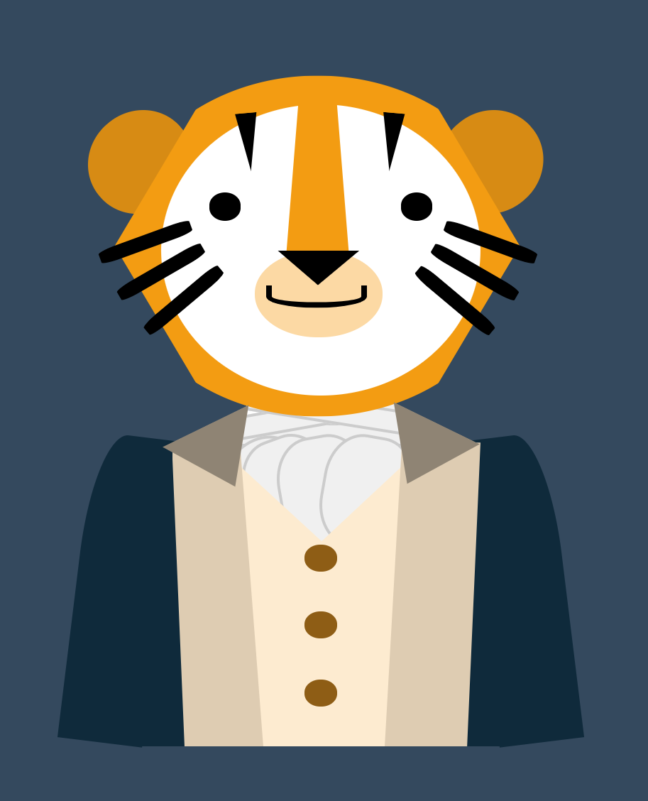 css image of a tiger wearing a revolutionary war uniform