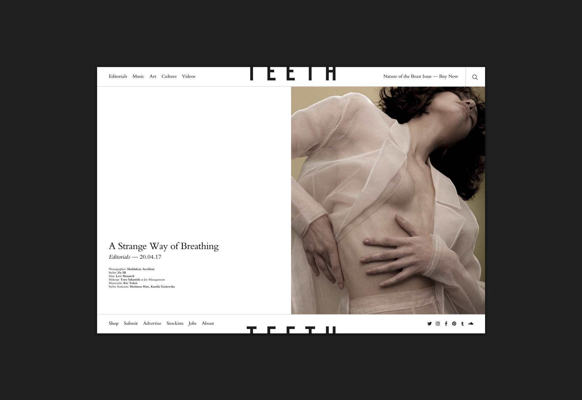 Teeth Magazine website designed by She Was Only
