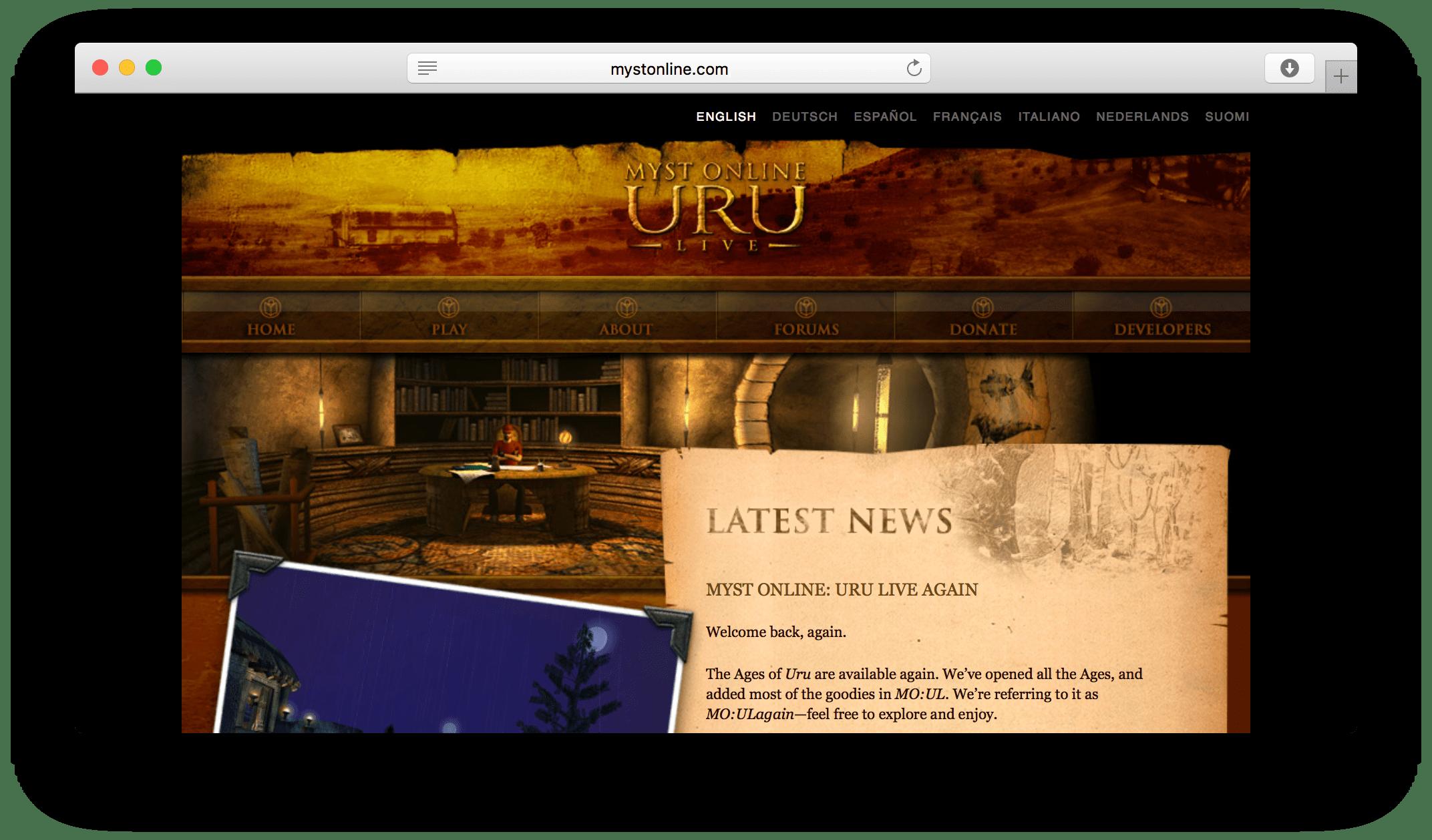 Myst Online website screenshot