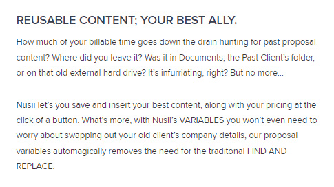 SaaS Landing Page Tips with Josh Garofalo: Screenshot of Nusii using the language of creative agencies