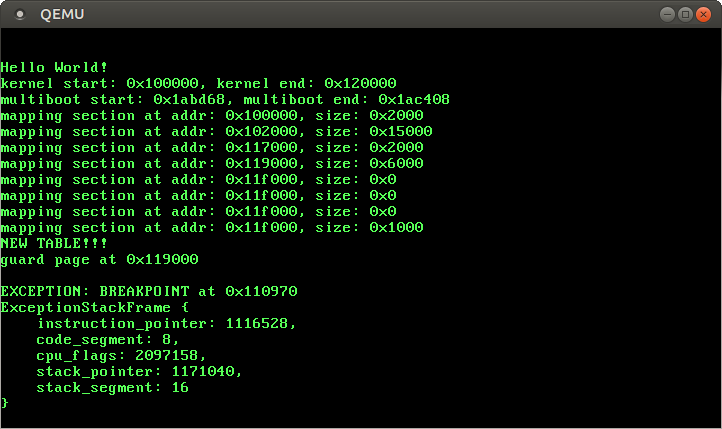 QEMU showing `EXCEPTION: BREAKPOINT at 0x110970` and a dump of the exception stack frame