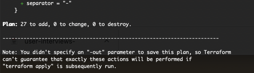 AWS DO NOT CONTINUE unless you see 0 change, 0 to destroy