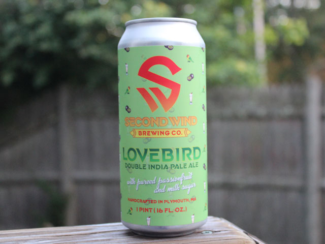 Lovebird, a Double IPA brewed by Second Wind Brewing Company
