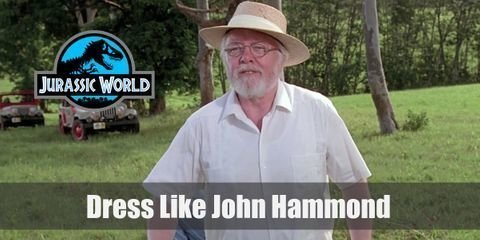 John Hammond signature modest outfit is a plain white shirt and pants with a straw hat, only his gold watch and rings that convey the man's wealth