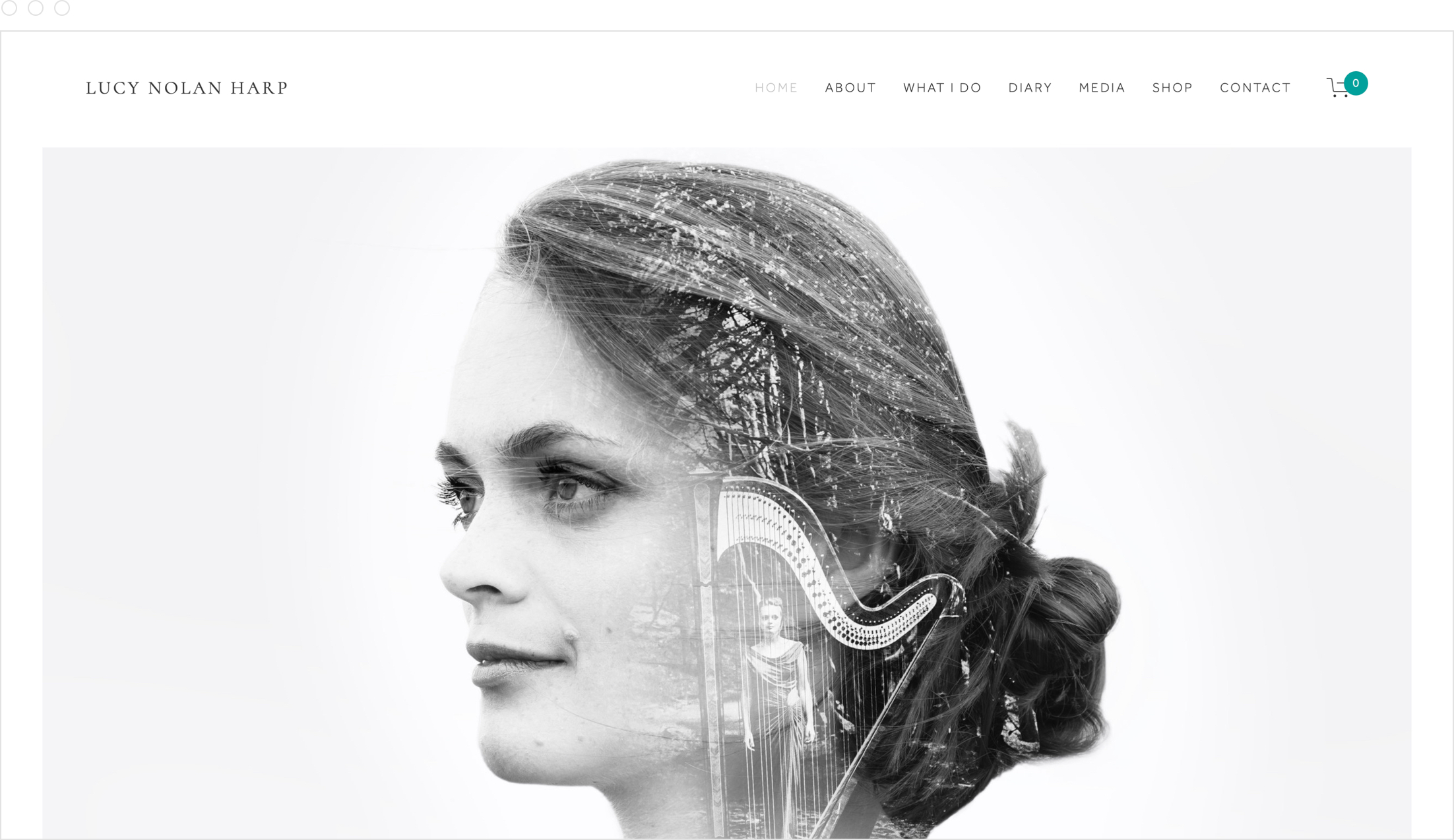 Home page and website design by Jack Watkins for award-winning classical musician and harpist, Lucy Nolan