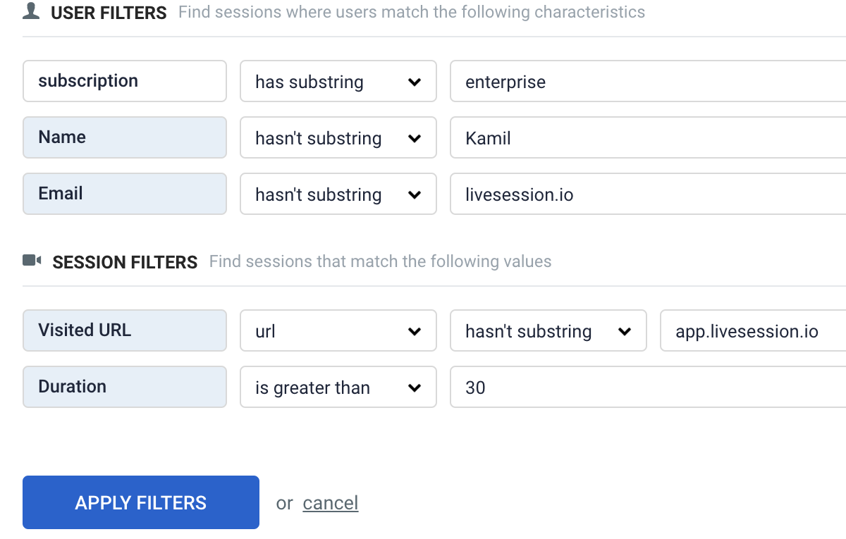 LiveSession parameters