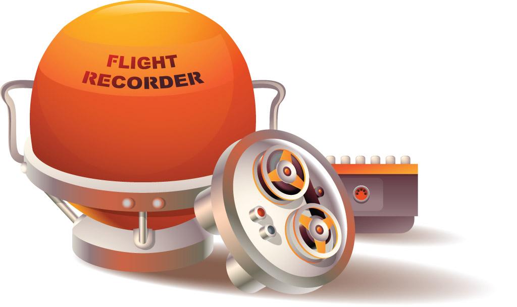 Illustration of a flight recorder (black box) in customary bright orange