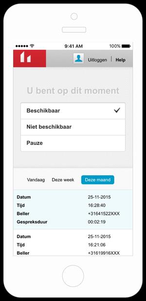 Telefonische medewerkers kunnen zelf hun beschikbaarheid beheren met de Belfabriek Callcenter app.