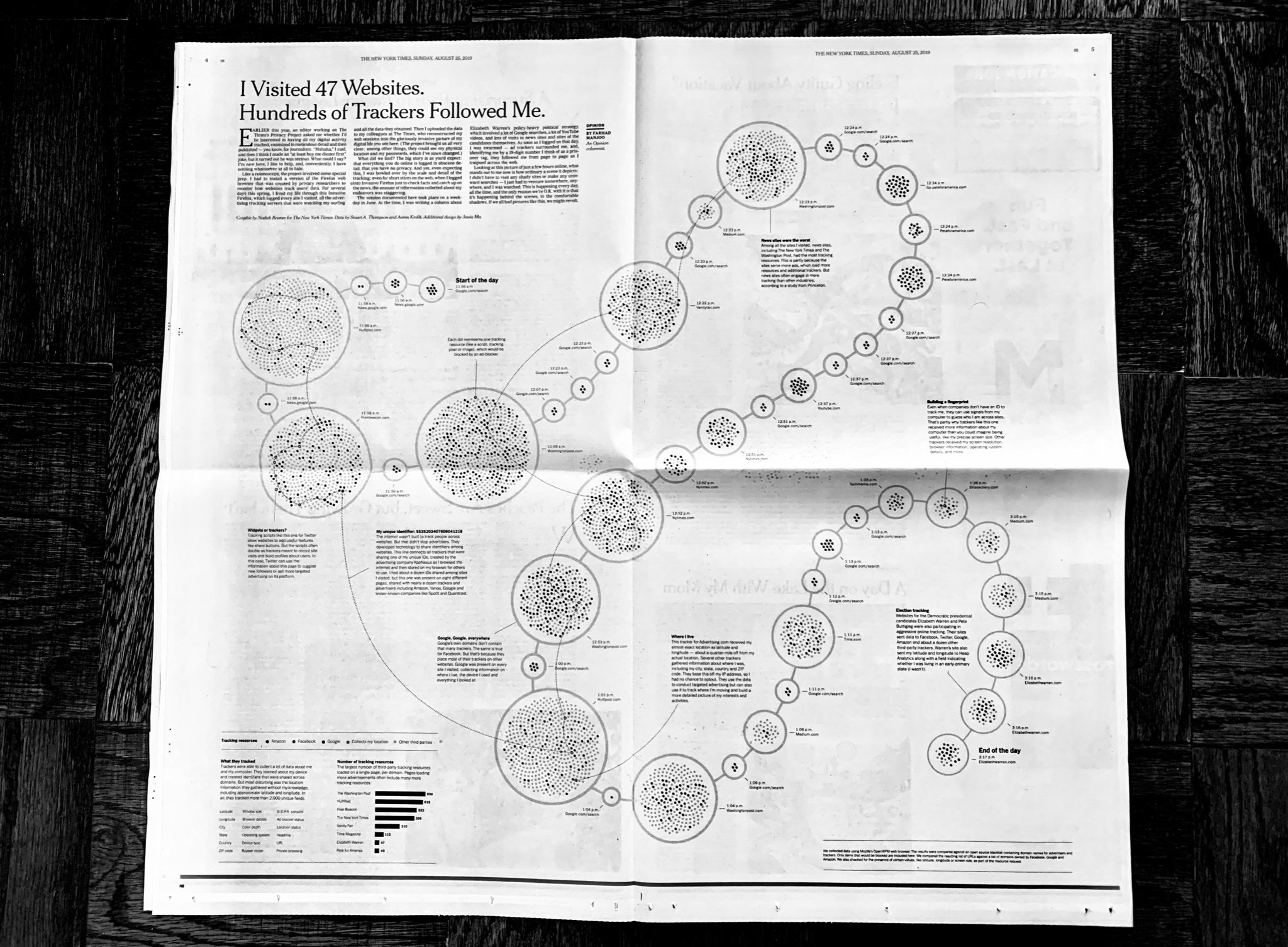 A black and white photo of the data visualization as it appeared in the full page spread of the New York Times Sunday edition of August 25th, 2019