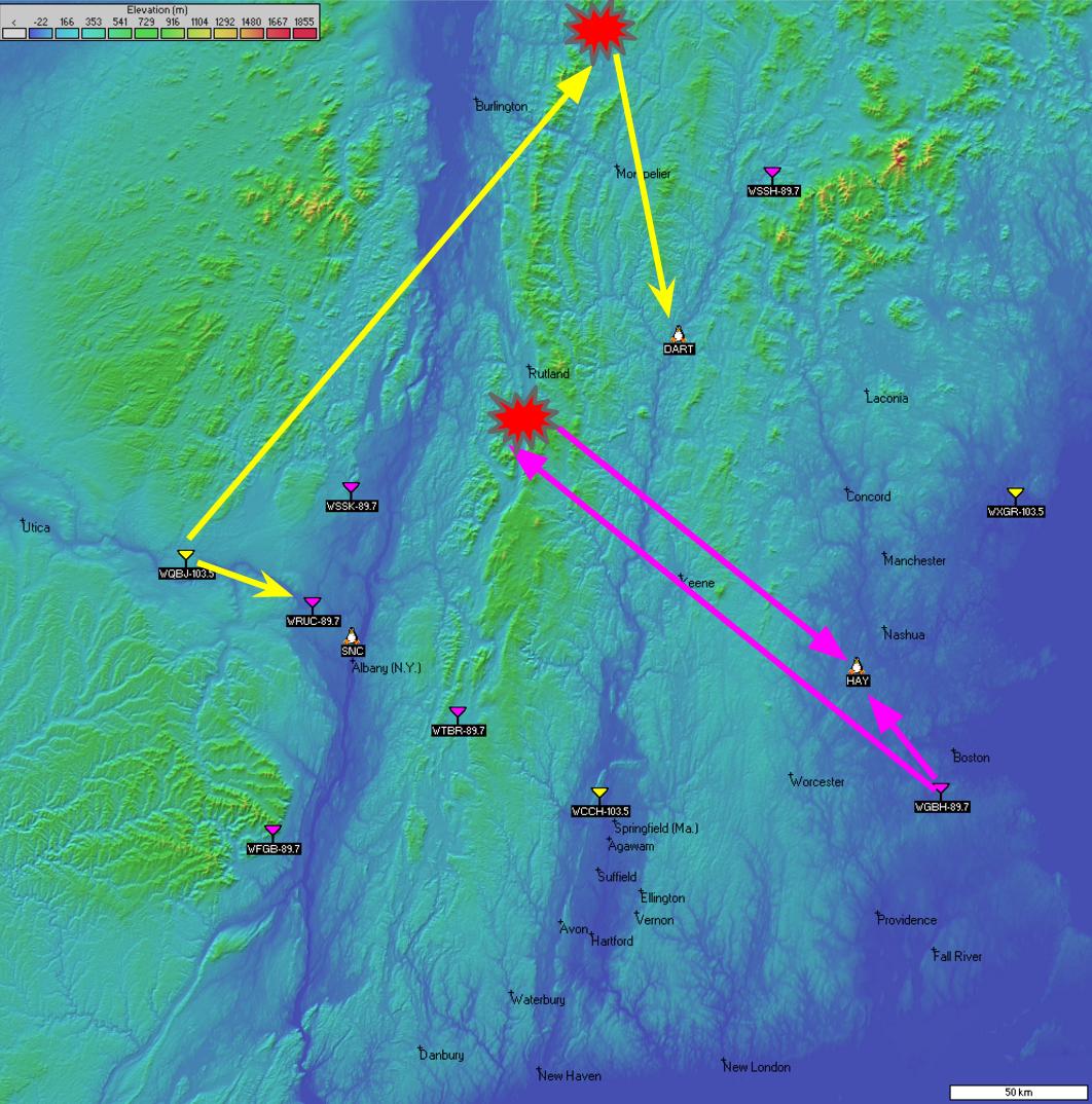Passive FM radar site map New England.
