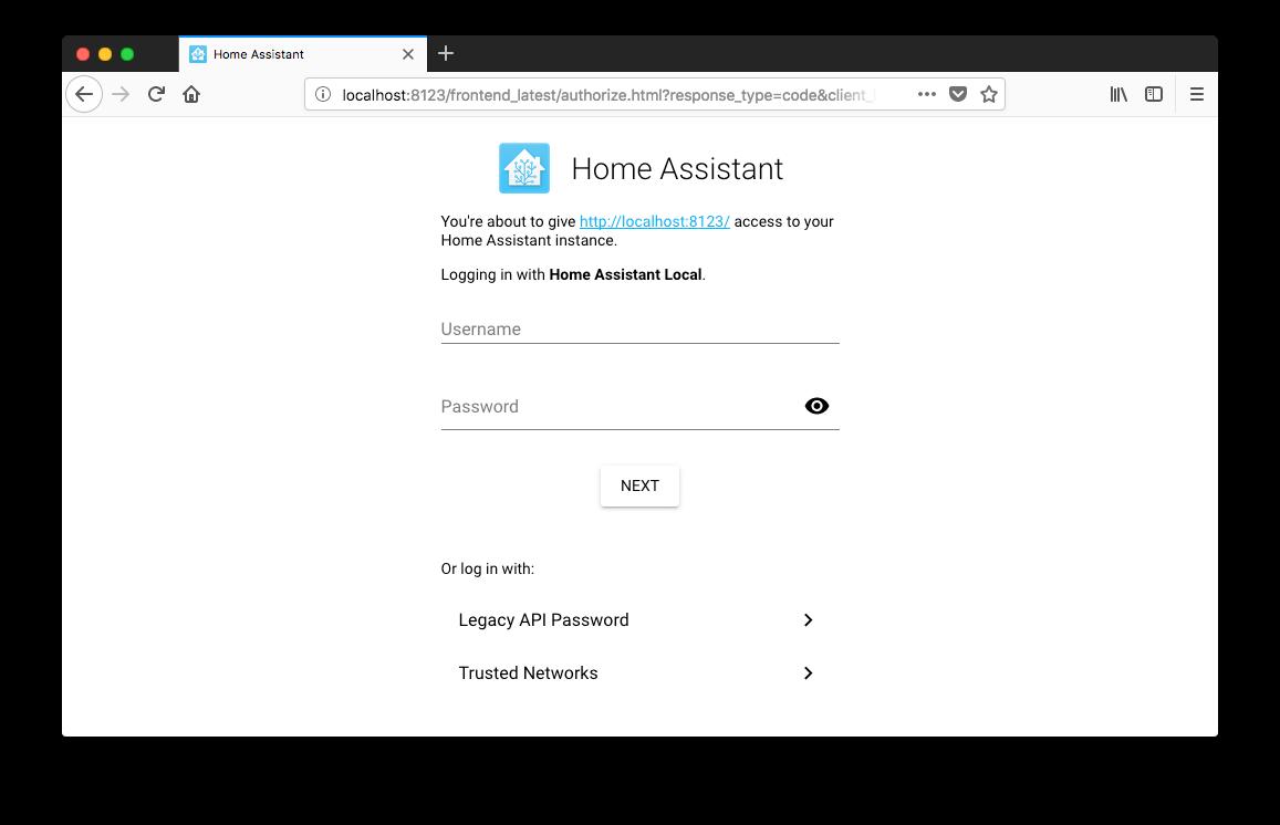 Screenshot of the login screen